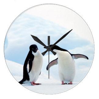 Adelie Penguins Large Clock