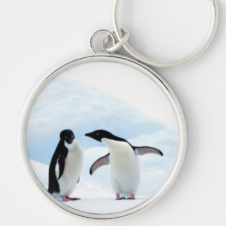 Adelie Penguins Silver-Colored Round Keychain