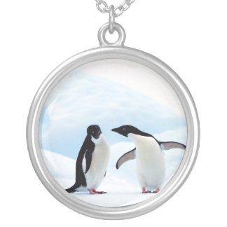 Adelie Penguins Silver Plated Necklace