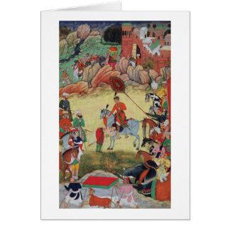 Adham Khan paying homage to Akbar at Sarangpur, Ce Card