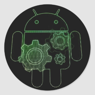 Adhesive android art play round sticker