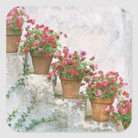 Adhesive flowers in the stairs square sticker