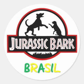 Adhesive Jurassic Bark Brazil Classic Round Sticker