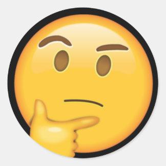 Adhesive Just Thinking | Emoji Classic Round Sticker
