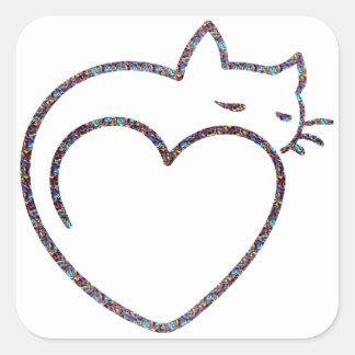 "Adhesive ""Love cats "" Square Sticker"