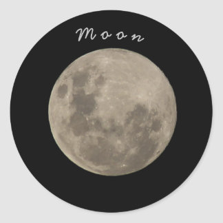 Adhesive Moon Classic Round Sticker