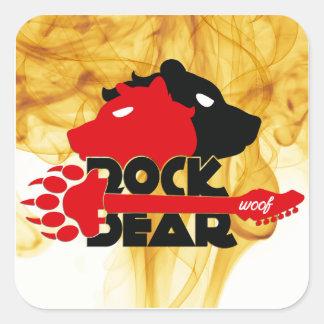 Adhesive Rock Bear Woof Square Sticker
