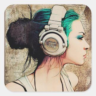 "Adhesive small ""Woman music "" Square Sticker"