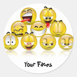 adhesive smiles classic round sticker