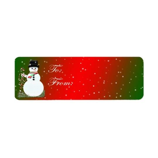 Adhesive Snowman Gift Tags Return Address Label