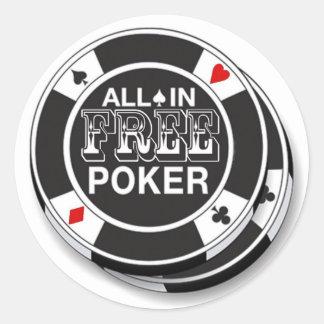 Adhesives Free Poker Classic Round Sticker