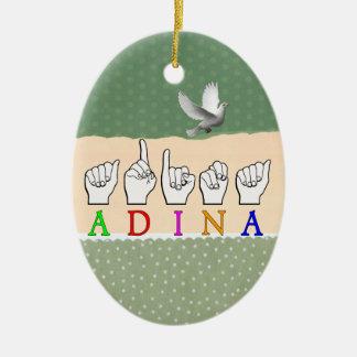ADINA FINGERSPELLED ASL NAME SIGN CERAMIC ORNAMENT