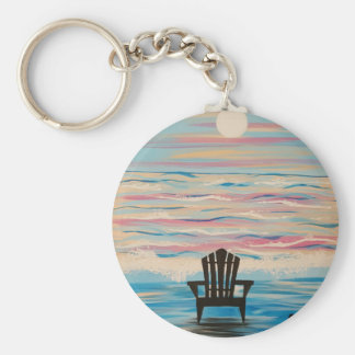 Adirondack Beach Chair Basic Round Button Keychain