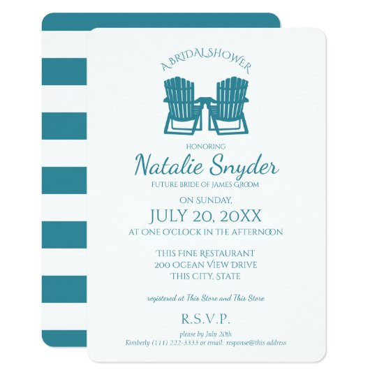 Adirondack Chairs Bridal Shower Card