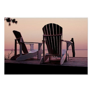 Adirondack Chairs Dockside at Lavender Haze Twilig Poster