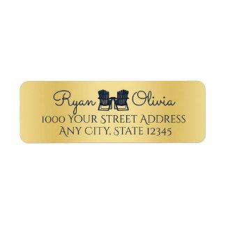 Adirondack Chairs Gold and Navy Blue Return Address Label