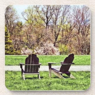 Adirondack Chairs In Spring Beverage Coasters