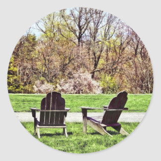 Adirondack Chairs In Spring Classic Round Sticker
