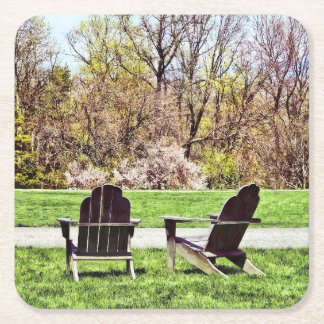 Adirondack Chairs In Spring Square Paper Coaster