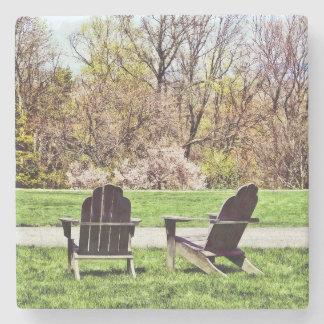 Adirondack Chairs In Spring Stone Beverage Coaster