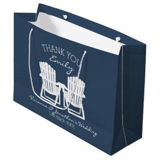 Adirondack Chairs Navy Blue Large Gift Bag