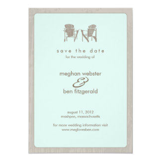 "Adirondack Chairs Wedding Save the Date 5"" X 7"" Invitation Card"