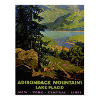 Adirondack Mountains Lake Placid Vintage Poster Re Postcard