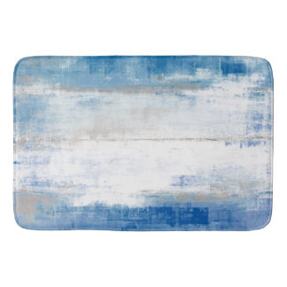 'Adjust' Blue and Grey Abstract Art Bath Mat
