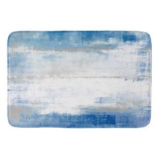 'Adjust' Blue and Grey Abstract Art Bathroom Mat