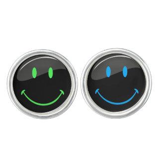 Adjustable Color Neon Black Happy Face Cufflinks