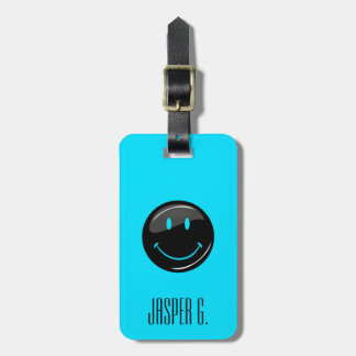 Adjustable Color Neon Black Hipster Happy Face Luggage Tag