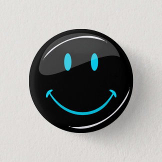 Adjustable Color Neon Black Smiley 1 Inch Round Button