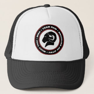 Adjustable Trucker Cap, Black and Red RAM Logo Trucker Hat