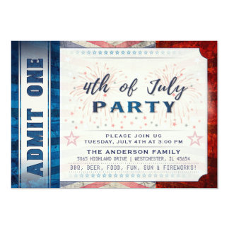 Admettez 4 juillet un invitation de billet de