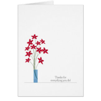 Admin Professionals Day Cards, Red Flowers Card