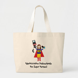 Administrative Professional Super Hero (Brunette)  Large Tote Bag