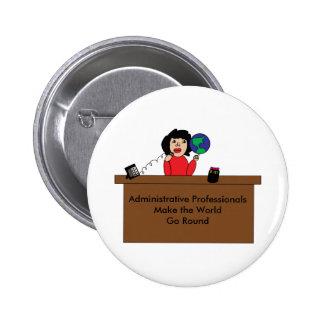 Administrative Professional World (Dark Hair) 2 Inch Round Button