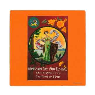Admission Day Advertisment, State Festival Maple Wood Coaster