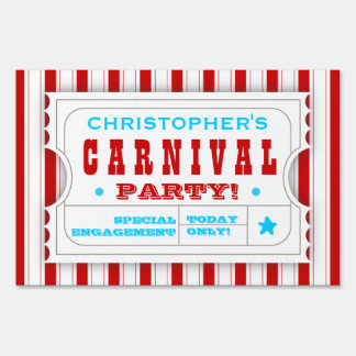 Admission Red White Carnival Birthday Party Sign