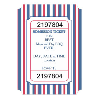Admission Ticket Memorial Day Party Invitation