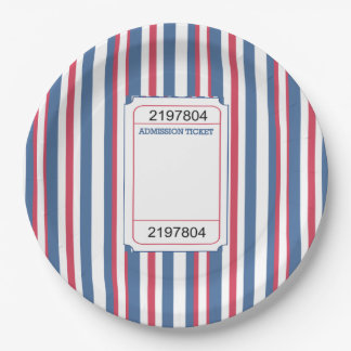 Admission Ticket Memorial Day Party Paper Plate 9 Inch Paper Plate