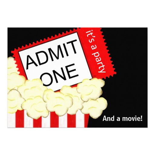 Admit One Movie and Birthday Party Invitation