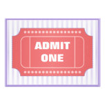 Admit One Movie Party Red Periwinkle Custom Announcement