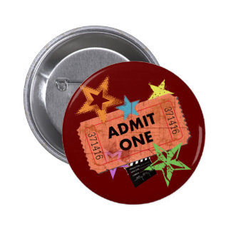 ADMIT ONE MOVIE TICKET 2 INCH ROUND BUTTON