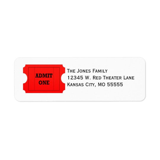 Admit One Red Ticket Return Address Labels