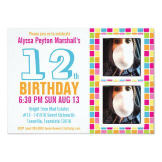 Ado ou anniversaire coloré de photo de Tween Carton D'invitation 11,43 Cm X 15,87 Cm