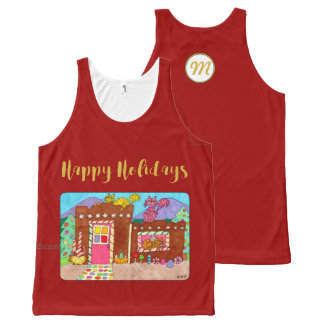 Adobe Gingerbread House & Cats Holiday Monogram All-Over-Print Tank Top