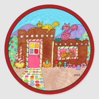 Adobe Gingerbread House with Cats Christmas Classic Round Sticker
