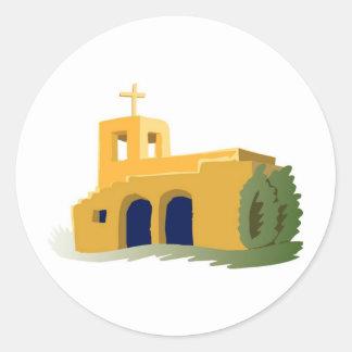 Adobe Style Yellow Church Classic Round Sticker