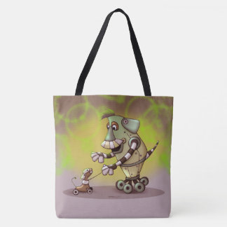 ADOGGY AND FLECTH ROBOT CARTOON FUNNY TOTE BAG